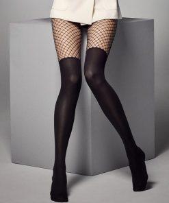 Smart og moderne strømpebuks i sort med overknee look