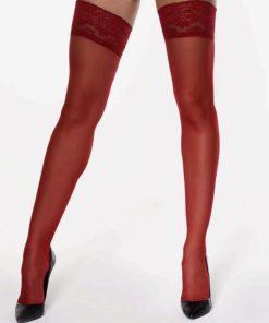MissO selvsiddende strømper i rød med blondekant