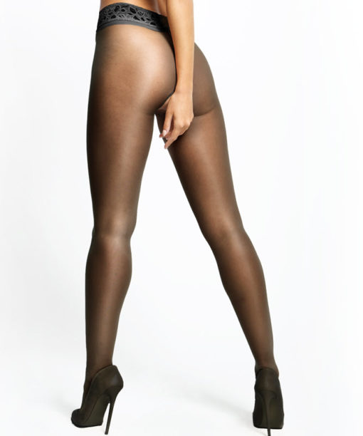 MissO sort bundløs nylonstrømpe med blondekant