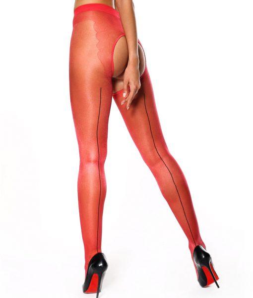 Røde strippanty med sort søm