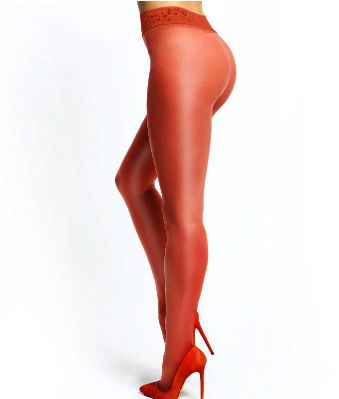 MISSO bundløse strømpebukser rød m. blonde | StyleLegs.dk
