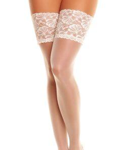 Elegante selvsiddende strømper med blondekant