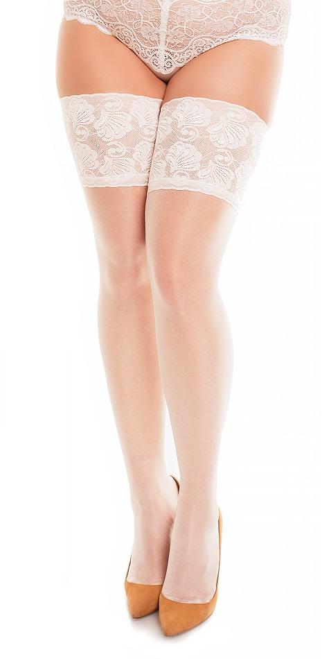 Plussize selvsiddende strømper med smuk blondekant
