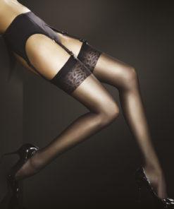ADORA 8 den Flot og tynd selvsiddende strømpe fra Ballerina med sort blondekant