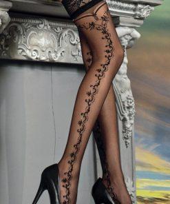 Smukke sorte strømpebukser med feminint mønster på siden
