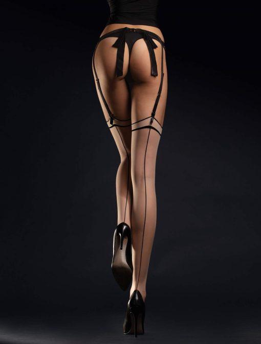 Nylonstrømper til hofteholder i lys beige med sort søm