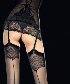 Vester strømper til hofteholder med flot blondekant og søm