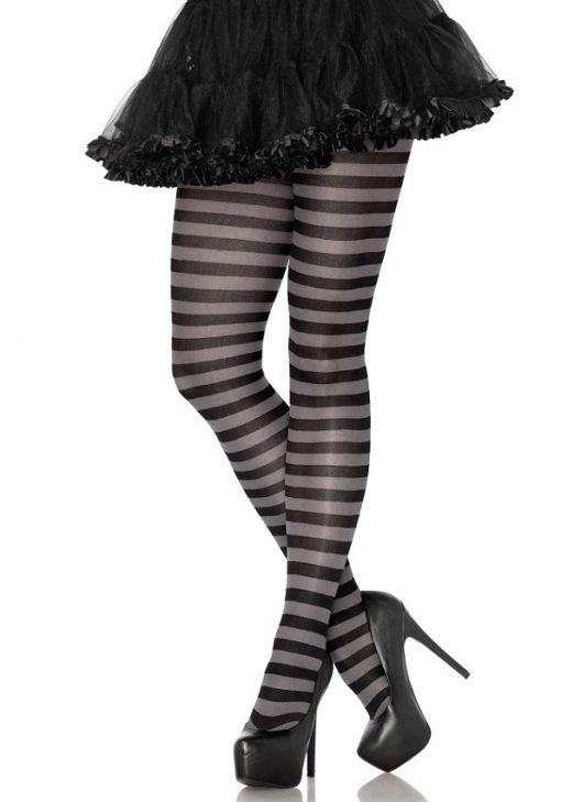 Strømpebukser med striber i sort og grå